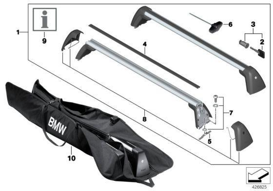 BMW Genuine Aluminium Lockable Roof Bars Rack