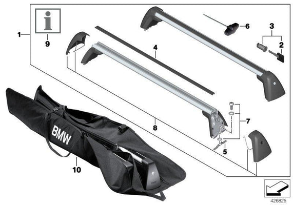 BMW Genuine Roof Rack Carrier Gutter Protector GEN2