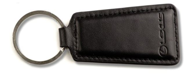 Genuine OEM Lexus Black Leather Debossed Branded Keyring Key Ring