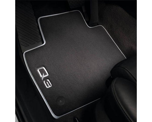 Audi Front Premium Textile Car Mats for Audi Q3 - black and silver