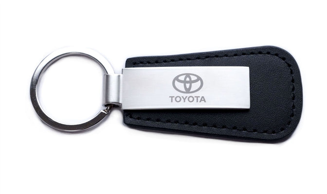 Toyota Leather Keyring Key Ring Engraved Logo Silver Metal Plate