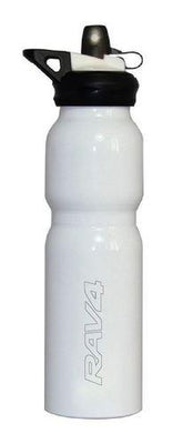 Toyota RAV4 White Aluminium Sports Bottle Black Lid Fold Straw 800ml