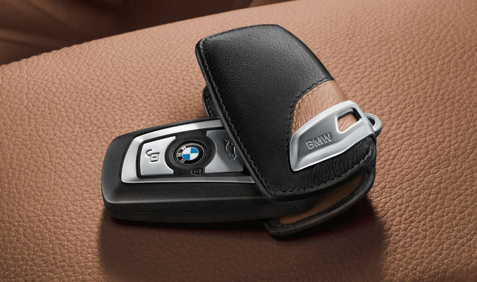 BMW Genuine Key Holder Fob Leather Case/Cover Luxury Line Brown