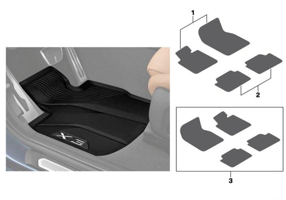 BMW Genuine Front + Rear All Weather Car Floor Mats Set Rubber