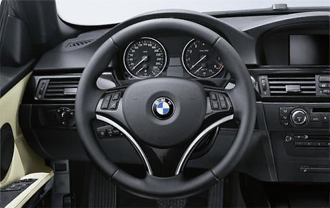 BMW Genuine Steering Wheel Cover Matt Black/Chrome