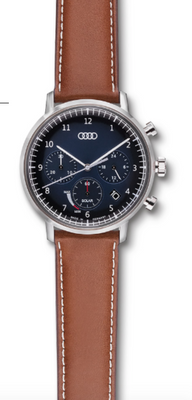 Audi Chronograph solar-powered, blue/brown