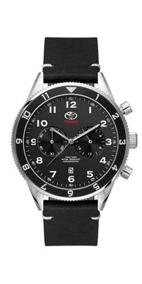 Genuine OEM Toyota Mens Black Chronograph Tachymeter Watch with Leather Strap