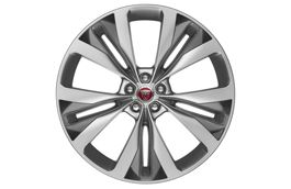 "Jaguar Alloy Wheel 22"" Double Helix, 10 spoke, with Silver finish and Dark inserts"