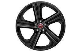 "Jaguar Alloy Wheel 20"" Blade, 5 spoke, with Black finish"