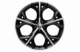 "Jaguar Alloy Wheel 20"" Style 5040, 5 split spoke, Gloss Black Diamond Turned finish, Front, Pre 21MY"