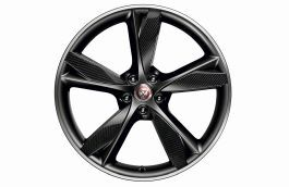 "Jaguar Alloy Wheel 20"" Style 5042, 5 spoke, Forged, Carbon Fibre and Satin Dark Grey Diamond Turned finish, Front"