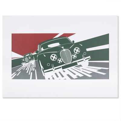 Jaguar Heritage Art Print - Green and Red