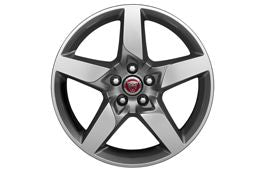 "Jaguar Alloy Wheel 18"" Style 5030, 5 spoke, Mid Silver Diamond Turned finish, Rear"