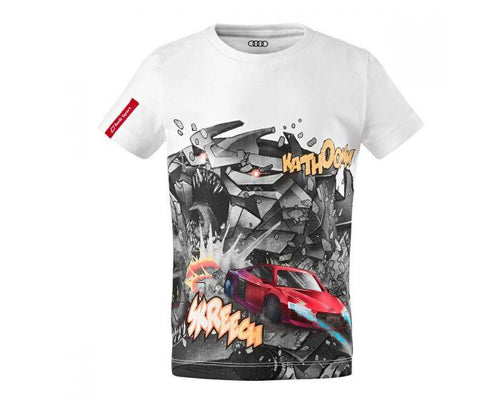 Audi Sport Children's White T-Shirt with R8 Comic Print