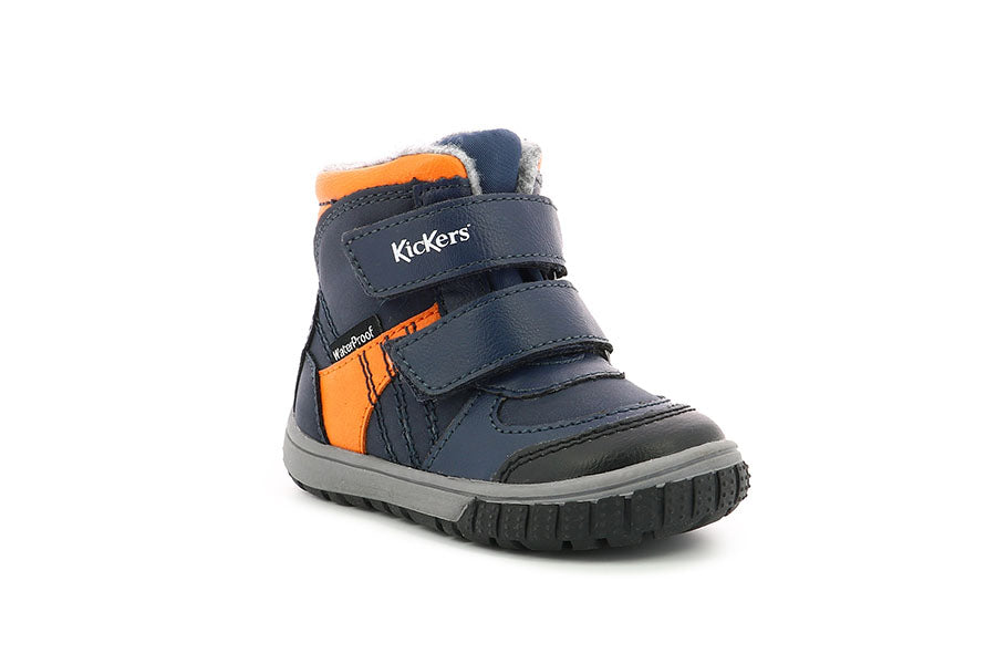 Ghete impermeabile copii - Kickers waterproof blue orange
