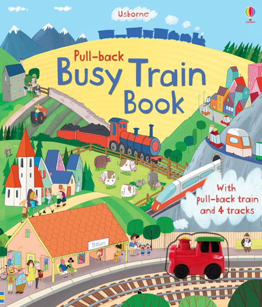 Carte cu jucarie - Busy Train Book (Pull-back) - Usborne