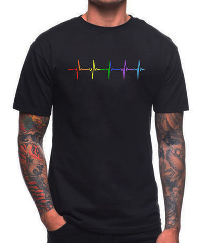 Rainbow  Heartbeat T Shirt - Sapphic . Honesty