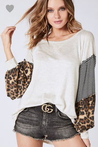 Mixed Media with leopard sleeved sweater
