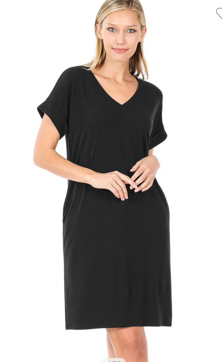 V Neck T-shirt dress