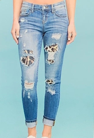 Judy Blue Leopard Patch Jeans