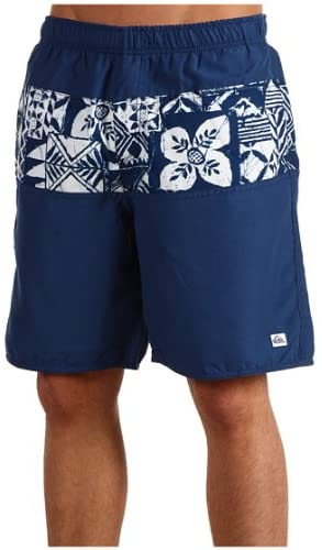 Quiksilver Waterman Men's Palm Point Volley Swim Trunk, Navy, Size Small