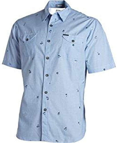 Billabong Men's Matey Short Sleeve Button Up Shirt, Light Blue, Size X-Large