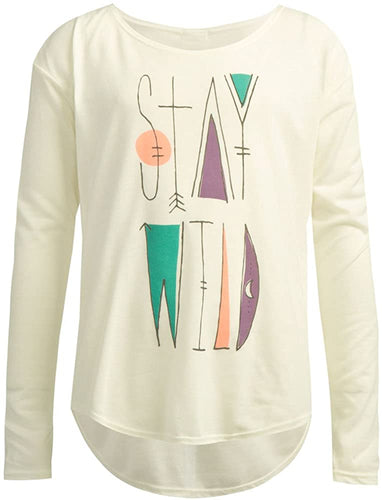 O'Neill Girls Wild Long Sleeve T-Shirt, (WWH) Winter White - Indi Surf