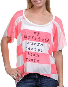 Billabong Big Crush Juniors High-Low T-Shirt - Coral Kiss (Small)