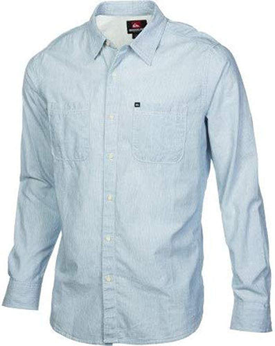 Quiksilver Men's Nooksie Ho Long Sleeve Button Down Shirt, Blue, Size 2X-Large - Indi Surf