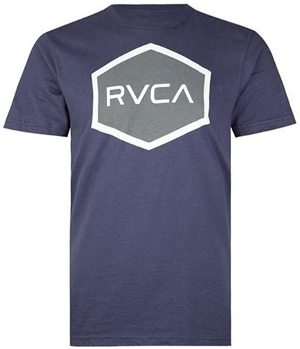 RVCA Men's Hexed Short Sleeve T-Shirt, (NVY) Navy, Size Medium