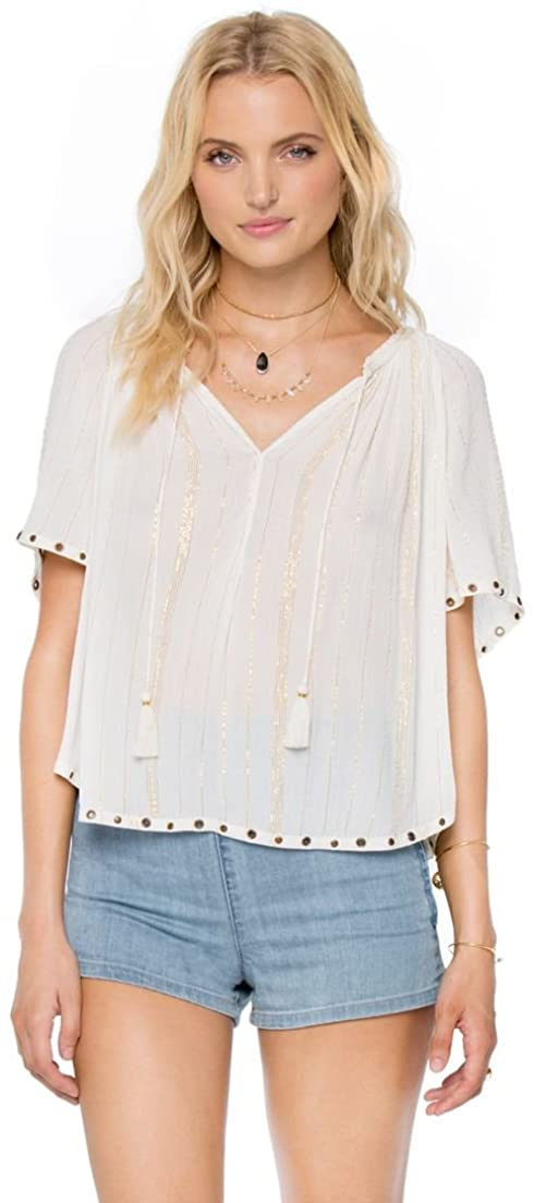 Amuse Society Juniors Indigo Woven Top, (CBL) Casa Blanca, Size Medium