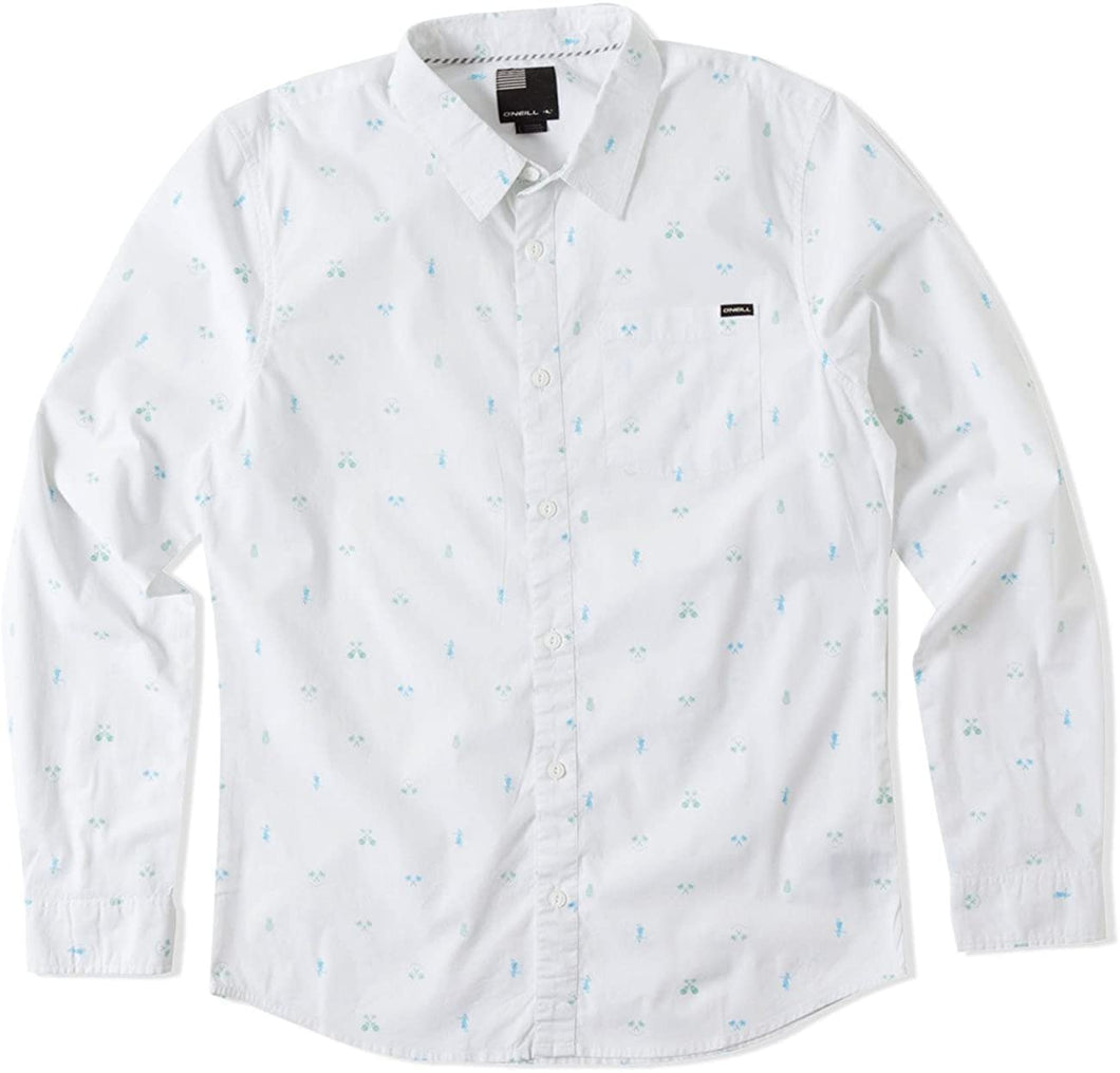 O'Neill Mens Fronze Button Up Long-Sleeve Shirt, White, 2X-Large