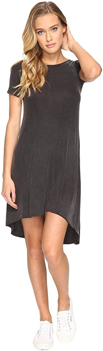 Billabong Junior's Get It Rib Knit Tee Dress, Off Black