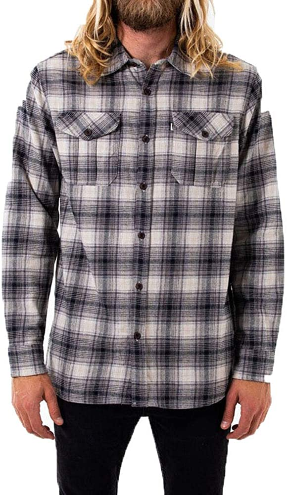 KATIN Men's Nelson Long Sleeve Flannel Shirt, Graphite