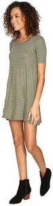 Billabong Junior's Lost Heart Stripe Dress, SEG (Sea Green)
