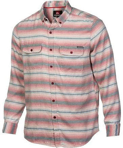 Quiksilver Men's Switchblade Tongue Long Sleeve Button Down Shirt, Sangre, Size Small