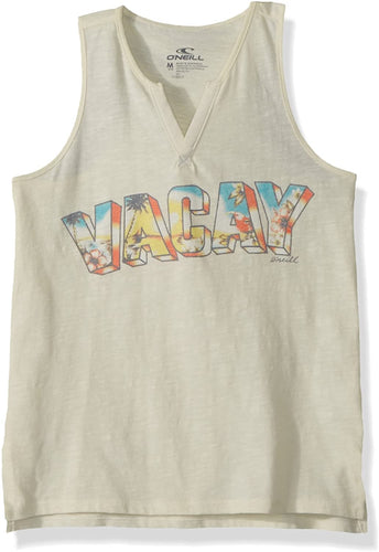 O'NEILL Girls' Big Vacay Time Screened Tank, (WWH) Winter White, Girls Size Small