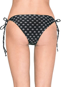 Amuse Society Juniors Callie Bandana Cheeky Bikini Bottom, Black, Size Medium