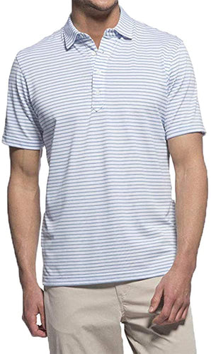 johnnie-O Men's Myers Short Sleeve Polo Shirt, White/Gulf Blue
