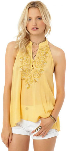 O'Neill Juniors Sylvia Embroidered Halter Tank, Gold, Small