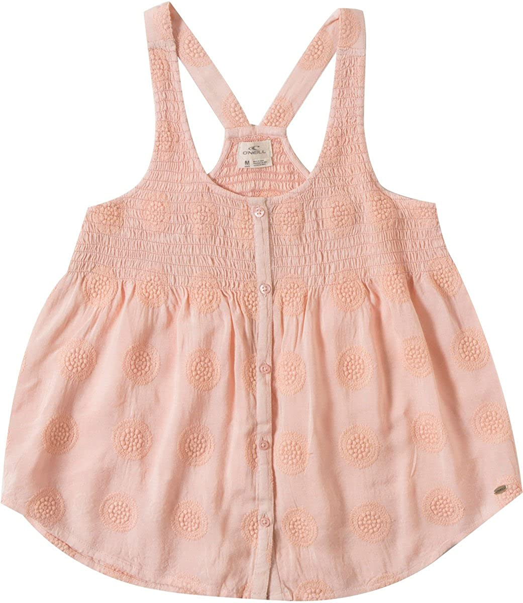 O'Neill Girls Cassy Woven Tank Top, (PNK) Pink, Girls Size Medium (10/12)