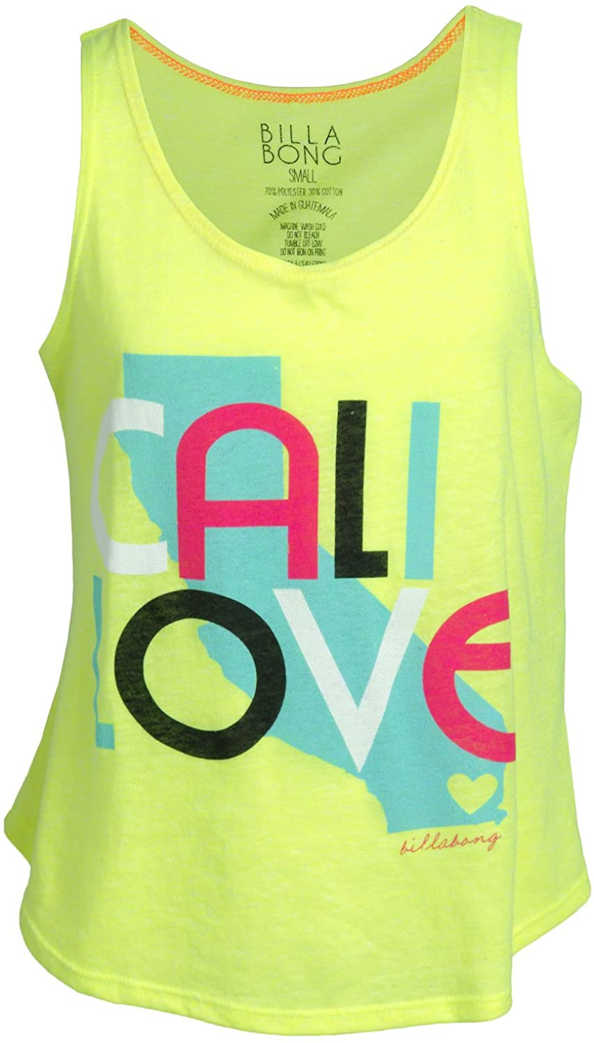Billabong Girls State of Fun Tank, Lemon Twist, Size Large