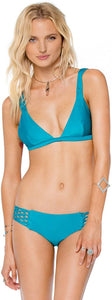 Amuse Society Juniors Rosita Solid Triangle Bikini Top, Turquoise, Size Small