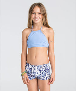 "Billabong Kids Girls' Penny Paisley 1.5"" Volley Shorts (Little Big Kids), Blue Cruz, XS (5/6"