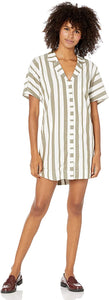 RVCA Women's Storm Oversized Shirt Dress, (AMD) Almond