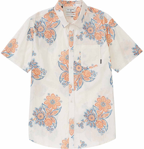 Billabong Men's Tropics Short Sleeve Woven Shirt, (BON) Bone, Size Small
