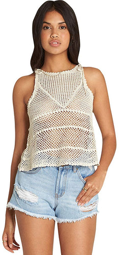 Billabong Women's Vacay Nites Crochet Tank, (WCP) White Cap, Size Medium - Indi Surf