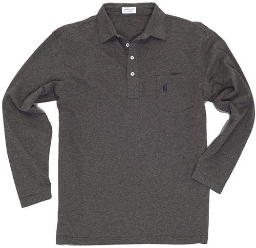 johnnie-O Men's Long Sleeve Heathered Polo Shirt, Charcoal, Size Small