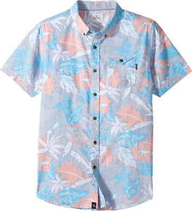 Rip Curl Kids Boy's Sun Glaze Short Sleeve Shirt (Big Kids) Blue SM (7-8 Big Kids)