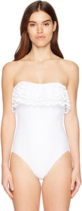 PilyQ Women's White Lace Flitter Strapless One Piece Swimsuit